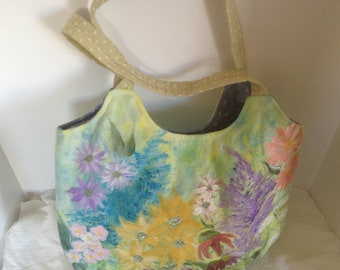 Hand Painted Purse with Flowers in Beautiful Pastel Colors