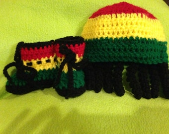 Crochet Baby Dreadlocks Hat and Booties Set