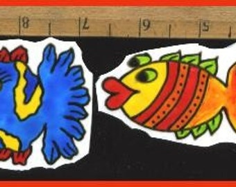 Mosaic Tiles 2 BRIGHT FUNNY FISH hp Hand painted China Mosaic Tile
