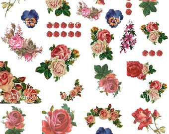 Vintage Roses - Shabby Chic Cottage Style Roses Collage Sheet - Instant Download - Printable