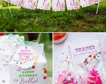 Confetti Birthday PRINTABLE Party Collection - You Customize EDITABLE TEXT >> Instant Download | Paper and Cake