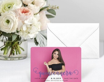 Handwriting Quinceanera - Card - Save the Date - Includes Back Side Printing + Envelope