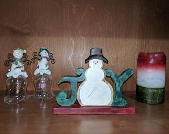 Joy snowman/ Winter/ Christmas/ Holidays/ Handmade/ wooden