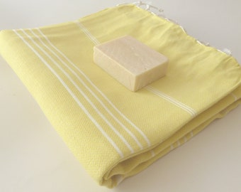 Classic Turkish Towel, Peshtemal, Natural Soft Cotton Bath, Spa,  towel, Mother's day gift, Yellow , gift