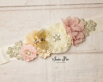 Rustic Flower Girl Sash...Burlap Sash..Bridal Belt / Sash..Bridesmaid Sashes..Maternity Sash...Ivory  / Flower Girl Sashes / Beige Ivory