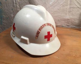 Vintage Retro Cosplay Costume Steampunk 1981 American Red Cross Hard Hat Construction Helmet White