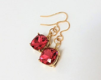 Swarovski Crystal Earrings,  Red 12 mm Swarovski Crystal Earrings