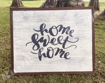 Home Sweet Home | Foyer Sign | Living Room Sign | Home Decor | Farmhouse Decor | Distressed Sign