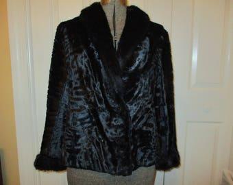 Vintage Saks Fifth Avenue crushed velvet faux fur trim coat/jacket
