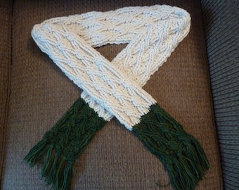 Crochet Scarf Pattern, Color Block Cable Scarf Crochet Pattern for Women or Men