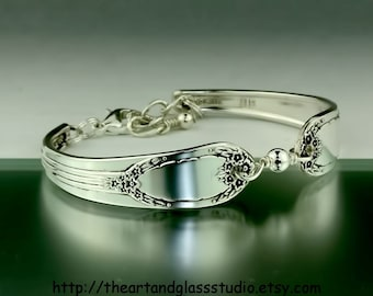 Silver Spoon Bracelet RAPTURE Jewelry Vintage, Silverware, Gift, Anniversary, Wedding, Birthday