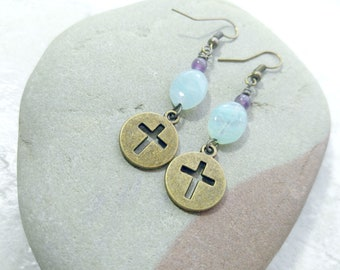 Blue earrings, cross earrings, blue and purple earrings, gifts for women, graduation gift for her, gifts for daughter, womens fashion, brass