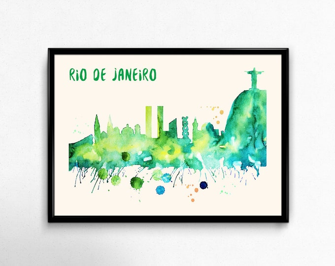 Rio de Janeiro Skyline Watercolor Poster - Cityscape Painting Artwork - Art Print, Multiple Sizes - 10x8 to 36x24 - Watercolor Style