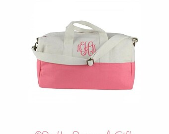 Small Duffle Bag - Monogrammed Overnight Bag - Coral Duffle Bag