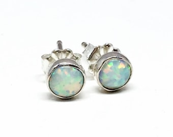 White Opal Stud Earrings - Sterling Silver- opal earrings - Gifts for Women - Mothers day gift - Tiny opal studs