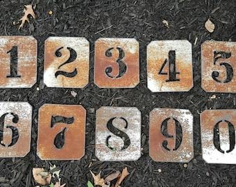 Stenciled Metal Numbers * House Numbers * Rustic Numbers * Number Stencils  * wedding table numbers*  Symbols*Metal Numbers* Rust Numbers
