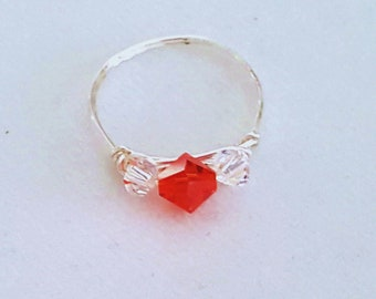 Swarovski Crystal Fire Red Sterling Silver Ring, Wire Wrapped Clear AB Crystal  Ring, Handmade Dainty Ring, Beaded Ring, Gifts for Her