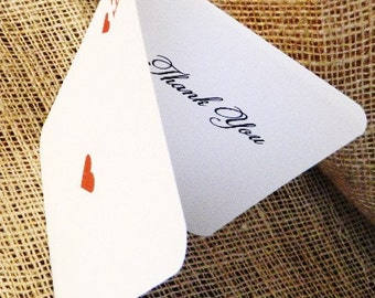 SET OF  Vegas Poker Simple Thank You Cards - Folded Style custom colors available