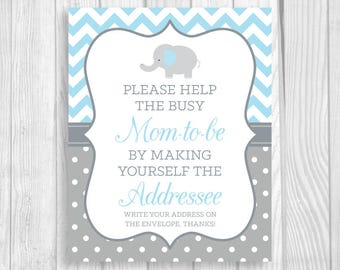 Help Busy Mom-to-Be 8x10 Printable Write Your Address Elephant Baby Shower Sign - Light Blue Chevron Gray Polka Dots - Instant Download