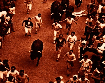 """Pamplona - Running of the Bulls Vintage Poster #9 - Canvas Art Poster 12""""x 24"""