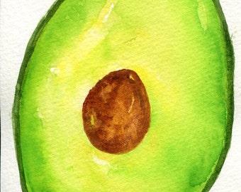 Avocado watercolor painting, 4 x 6 Original kitchen decor, art for kitchen, culinary watercolor, green wall art, SharonFosterArt