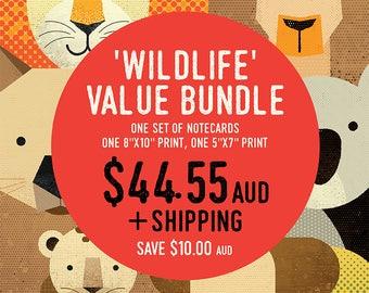 "Wildlife Value Bundle: Animal Notecards, 8""x10"", 5""x7"", Wildlife of Australia, Africa & Asia, Animal Nursery Prints, Set Prints Nursery"