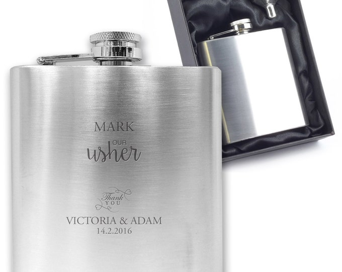 Personalised engraved USHER hip flask wedding thank you gift idea, stainless steel presentation box - TITL2