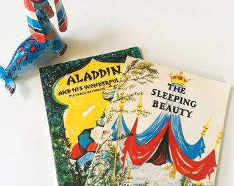 REDUCED Set of 2 Vintage Children's Books, Illustrated by Charles Mozley Aladdin and his Wonderful Lamp & The Sleeping Beauty