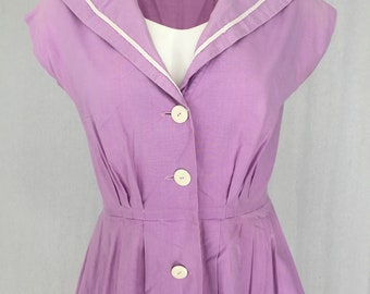 Lilac 1950s day dress mad men pin-up fifties size S-M