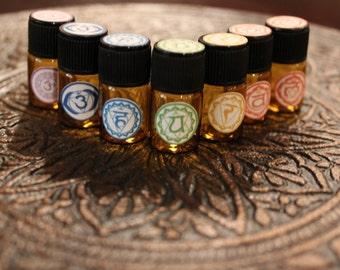 Chakra Balancing Set / Organic Essential Oils/ Organic Chakra Set/ Root Chakra/ Base Chakra / Third Eye / Throat Chakra/ Chakras/ Crown