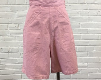 """Vintage 1940s Carnation Pink High-Waisted Cotton Twill Shorts, 26"""" waist"""