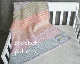 Easy Pastel Baby Blanket with Butterfly - PDF Crochet Pattern