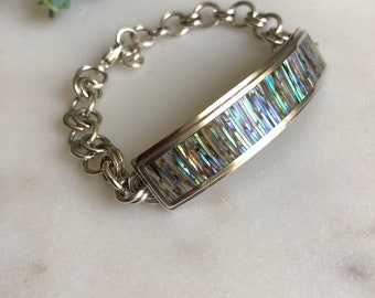 Abalone Shell Bracelet, Bracelet, Fine Silver Bracelet, Shell Bracelet, Inlaid Bracelet, Ocean Jewelry, Abalone Shell Jewelry