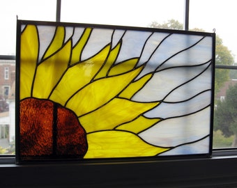 Sunflower Stained Glass Window Panel - Stained Glass Flower - Privacy Screen - Yellow Glass