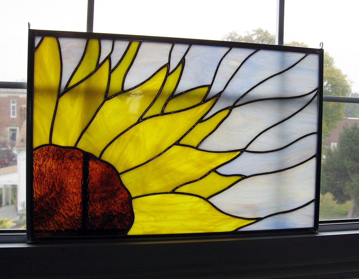 Sunflower Stained Glass Window Panel Stained Glass Flower