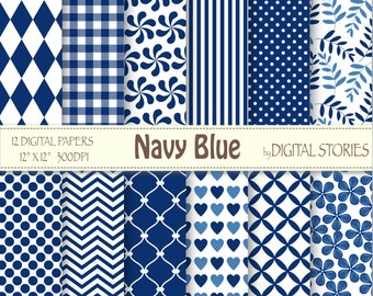 Navy Blue Basic Digital Paper Pack - Instant Download
