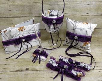 White Camo with Plum Wedding Set, Plum and Camo, Purple Camo, White snowfall True Timber Wedding Set, Camo wedding, White camo with purple