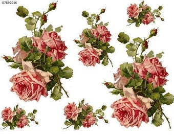 XL ViNTaGe KLeiN DouBLe PinK CaBbaGe RoSe SWaGs SHaBbY DeCaLs ~FurNiTuRe  SiZe~