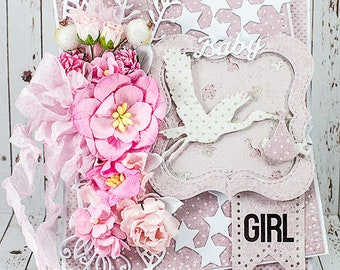 Shabby Chic Baby Girl Congratulations Card