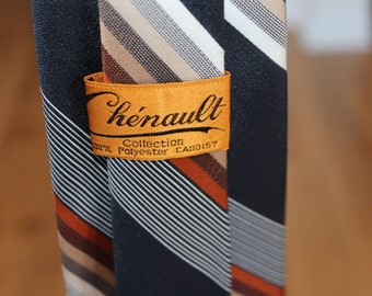 Vintage 1970s Men's Fat Tie / Cherault / Black and Brown Diagonal Stripe