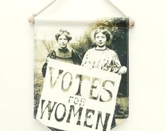 Votes the Women Flag Banner. Fabric sign. Wall Art Print. Pennant Flag. Feminist