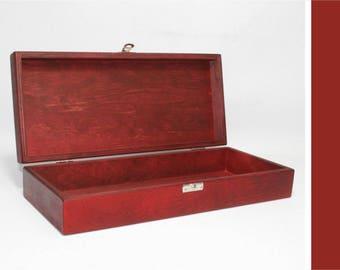 Red Wooden Box - 12.6 x 5.12 x 2.36 inch - Keepsake Box - Storage Box - Gift Set Box - Red Painted Box - Gift Set Box - Favor Box - Wood Box