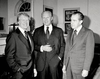 President Jimmy Carter with Gerald Ford and Richard Nixon at the White House