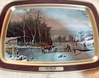 """Vintage """"getting ice"""" serving tray"""