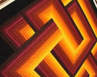 Large 70s WOVEN OP ART  made in Paris France