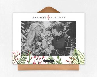 Digital Photoshop Christmas Card Template for photographers PSD Flat card - Christmas Card - PSD Template - 042