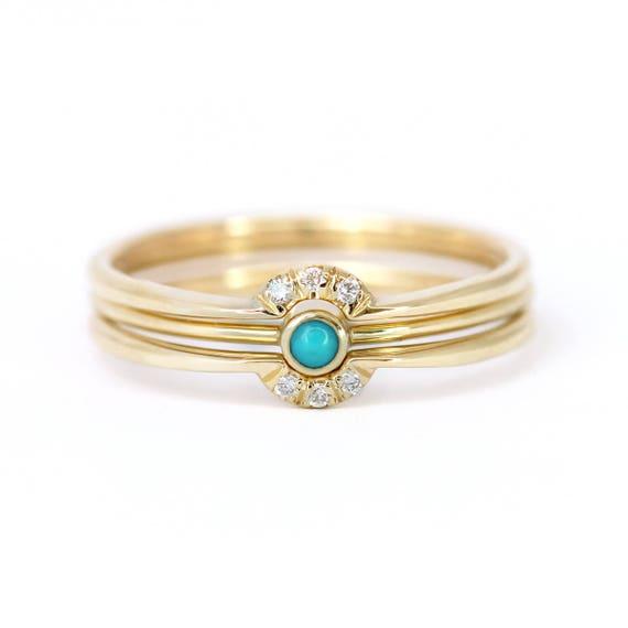 Trinity Wedding Ring Set Bridal Wedding Rings Turquoise