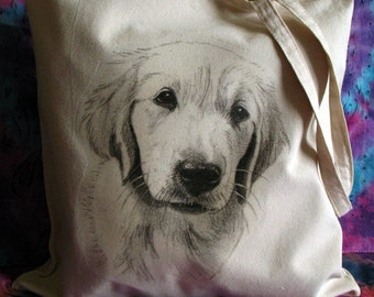 Lab Puppy Art Cotton Tote Bag, Dog Art, Pet Drawing, Pet Gift, Labrador Tote Bag