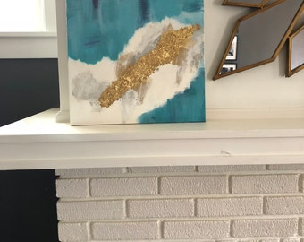 Hand Painted Abstract Acrylic Painting with Gold Leaf