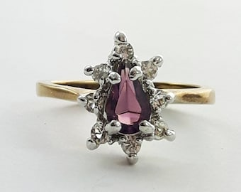 Vintage Amethyst Teardrop CZ Ring - Size 6.5 Ring - VPE218